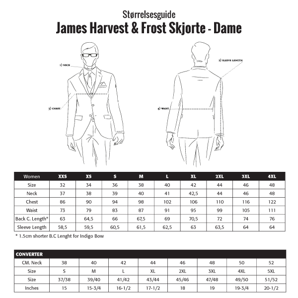 f9ed0e8e Størrelsesguide James Harvest & Frost Skjorter - Dame. J. Harvest & Frost  Yellow Bow 50 Skjorte Regular
